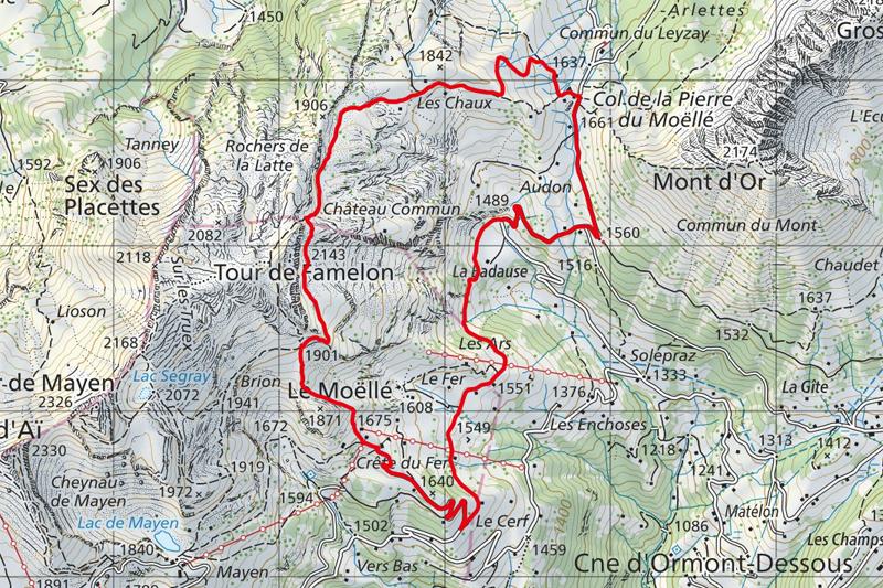 Randonnée – Tour de Famelon - Carte