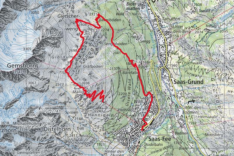 Randonnée - Saas-Fee - Mällig - Carte