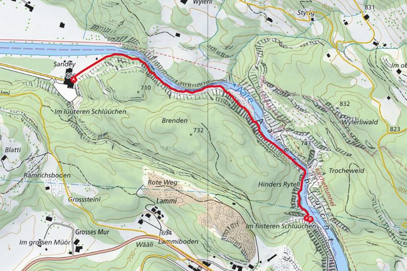 Randonnée - Gorge de l'Aar - Carte