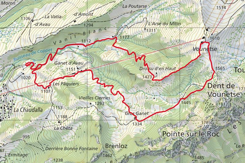 Randonnée - La Vounetse - Carte
