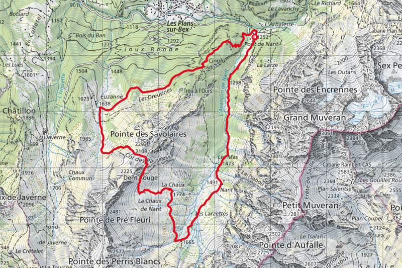 Randonnée - Col des Pauvres - Carte