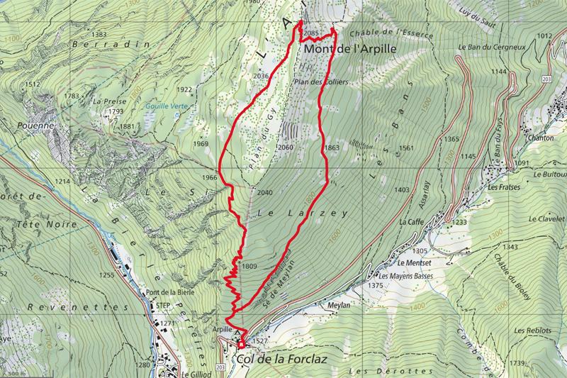 Randonnée - Mont de l'Arpille - Carte