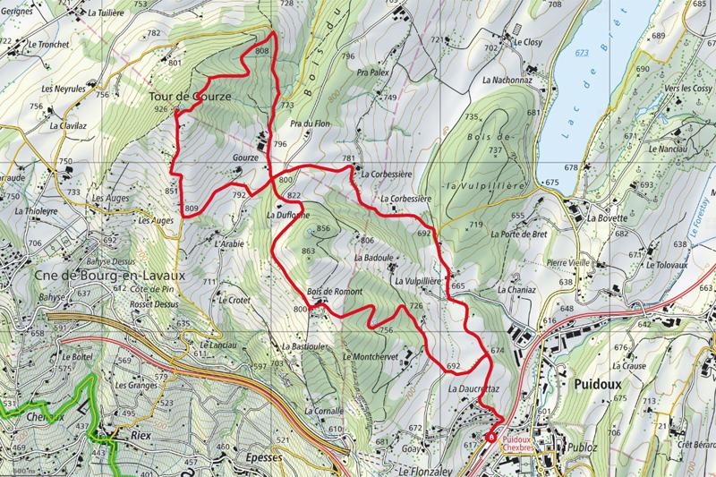 Randonnée - Tour de Gourze - Carte