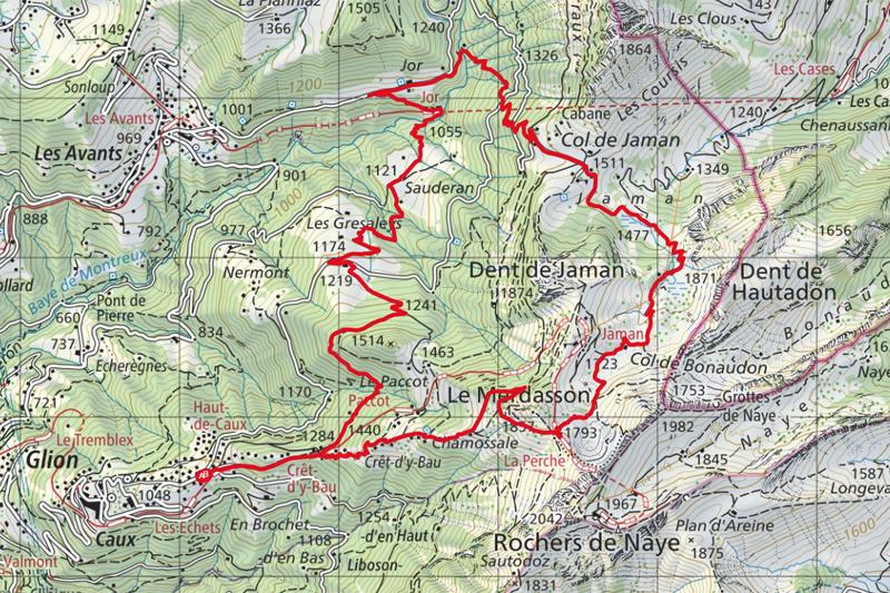 Randonnée - Tour de la Dent de Jaman - Carte