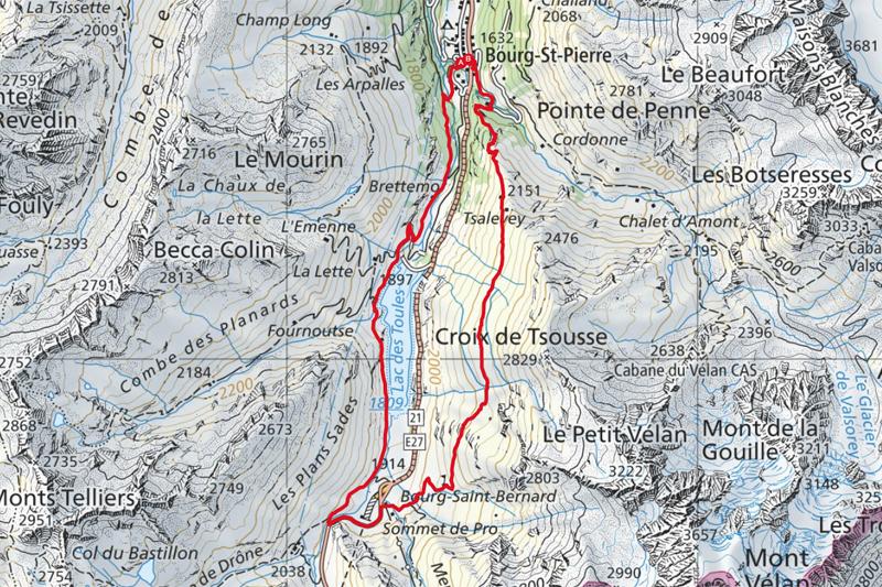 Randonnée - Lac des Toules - Carte